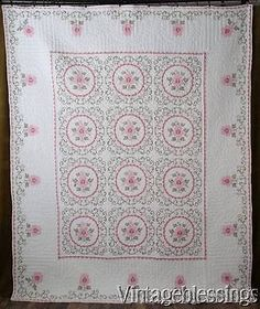 Romantic-Pink-Roses-Scrolls-Embroidered-Vintage-QUILT-89-x-74
