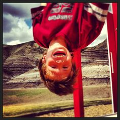 Lachlan at a playground in Drumheller! Playground, Monkey, Photo And Video, Videos, Instagram, Children Playground, Jumpsuit, Monkeys, At Sign