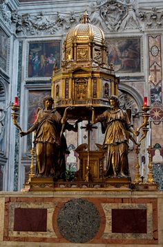 Basilica of St. Mary Major – The architect Domenico Fontana designed the chapel, which contains the tombs of Sixtus V himself and of his early patron Pope Pius V. The main altar in the chapel has four gilded bronze angels holding up the ciborium, which is a model of the chapel itself.