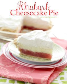 Rhubarb Cheesecake Pie - the best of two favorites in one! As delicious as it is pretty!