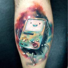 BMO tattoo, Adventure Time tattoo, calf tattoo, leg tattoo