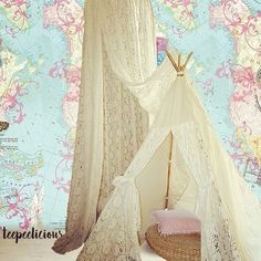 Are you a #romantic one? these  #teepeelicious #lace #teepee and #canopy is for you. #wallpaper #wallcovering #giftideas #glamping #girlydecor #onlyforgirls #roomdesign #kidsroomdecor #kidsroomideas #bamboo #glamping #nurserydecor Only Girl, Canopies, Hanging Chair, Girls Bedroom, Glamping, Nursery Decor, Toddler Bed, Bamboo, Girly