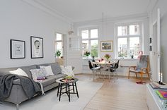 white and gray with light floors