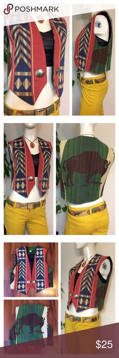 """Vintage Western Tapestry Vest bright bold colors! marked small. Like New Lined: yes How Do I Know This Will Fit Me?? **Friendly Tip... Take a Similar item you already own (Knit Top, Blouse, Dress... Etc.) that you LOVE and fits you great...  Use the Measurements below... and Compare them to that item that Fits you so well (instead of to your body measurements)* Approx measurements laid flat- (double where necessary)  Shoulder to shoulder: 15"""" Underarm to underarm: 19"""" Shoulder to hem: 20""""…"""