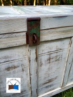 Trashed cedar chest with new handles, hasp, and paint.