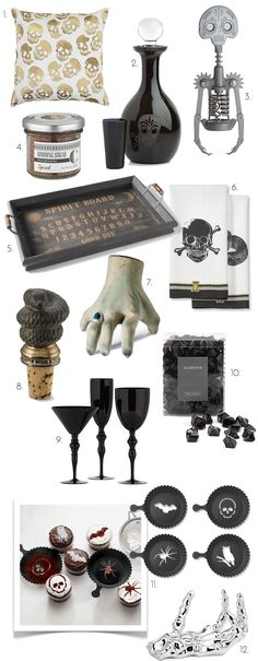 Halloween Party Ideas, Halloween Decor, Halloween Decorations, Skull Hands, Black Ice Gems, Halloween Cup Cake Stencils, Gold Skull Pillow, Onyx stemware, day of the dead cork screw, morelia decanter, Halloween towels, crawling halloween hand, Spiced rimming sugar