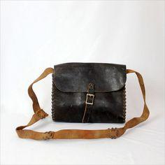 Distressed black leather satchel