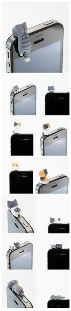 Do they have puppy ones? I will love him and hug him and call him George... OMG- Kittens in your iPhone are both decorative and a headphone port dust cover - such a cute little kitty cat! #product_design