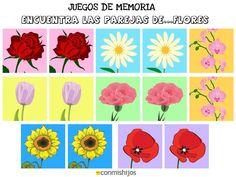 Juegos de memoria. Encuentra las parejas de flores