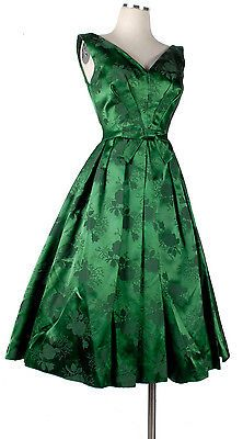 Vintage 50s 60s Cocktail Party Dress Dark Green Silk Satin Brocade Full Skirt S