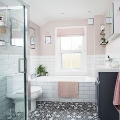 Bathroom makeover with patterned floor tiles and blush walls Bathroom-makeover-patterned-floor-blush Blush Bathroom, Mold In Bathroom, Upstairs Bathrooms, Bathroom Floor Tiles, White Bathroom, Boho Bathroom, Pink Bathroom Paint, Bathroom Tile Patterns, Painted Bathrooms
