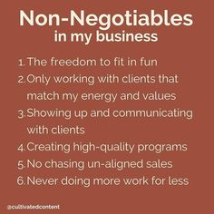 TOP SIX NON-NEGOTIABLES N MY BUSINESS @cultivatedcontent⠀ ⠀ #instagramoffer #instagram #businesscoach #spirtualcoach #allgnmentcoach #higherself #businesstipsr #cultivatedcontent #socialmediacontent #showupforyourself #confidence #sep2020 #coaching #ceo Positive Quotes For Women, Motivational Quotes For Women, Business Quotes, Business Tips, Online Business, Business Management, Management Tips, Business Entrepreneur, Spiritual Quotes