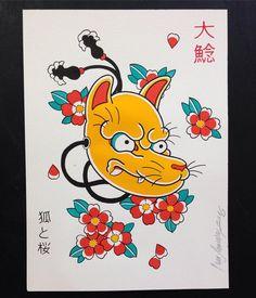 Kitsune - desenho disponível para tatuar aqui no @onamazu_tattoo Entre em…