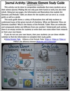 A great science journal activity that will provide some work for the students' hands and also their minds! Colorful and fun, students can use this to study the Elements, Molecules, Compounds, the Periodic Table and its history.