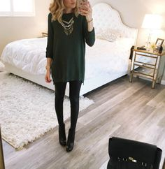 oversized sweater / leather leggings / booties / statement necklace