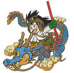Akira Toriyama! Goku riding Shenron! <3