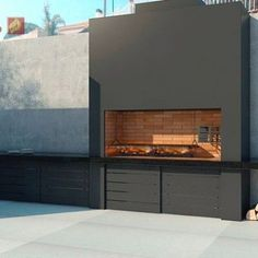 churrasquera moderna y simple – Casa Web Small Outdoor Kitchens, Modern Outdoor Kitchen, Backyard Kitchen, Outdoor Rooms, Backyard Patio, Outdoor Living, Barbecue Design, Grill Design, Parrilla Exterior