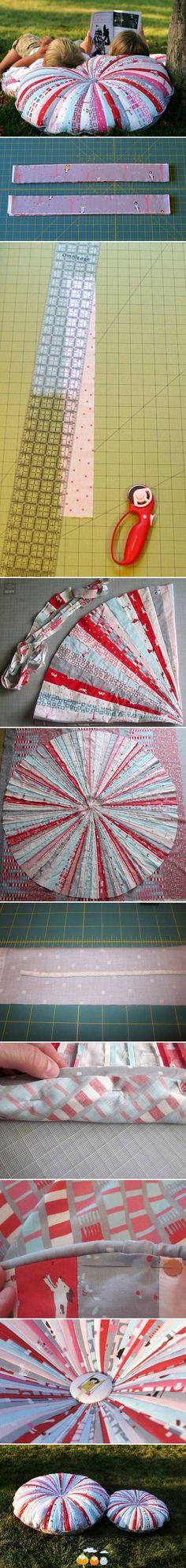 Fabric scraps extra large oversized circular overstuffed pillow (photo) tutorial