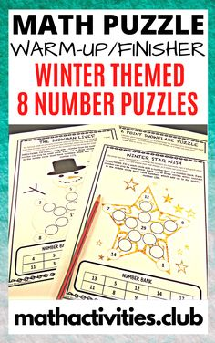 Winter Math Activity: 8 Number Puzzles. Perfect for Christmas / Winter as a Math Warmup Activity or as an Early Finisher Activity.  These number math activities will get your students thinking and using problem solving skills. Perfect as an early finishers activity for elementary or middle school students.  Each math puzzle has a different winter theme such as; snowflakes, Christmas tree, or snowman.  Winter Math Activity: 8 Number Puzzles. Christmas / Winter Math Warmup Activity quantity