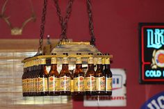 Beer Bottle Pool Table Light by BigSwigDesign on Etsy, $240.00