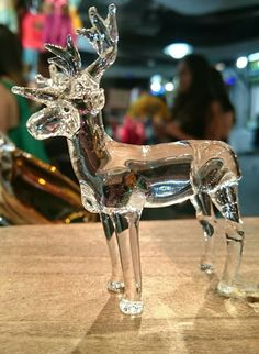 Hand Blown Glass small reindeer WWW.FACEBOOK.COM/GiftofGlassCairns/ Blown Glass Art, Sculpture Art, Reindeer, Facebook, Figurine