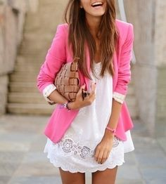 A pop of pink can freshen up a white dress - even more than it already was! #styletips