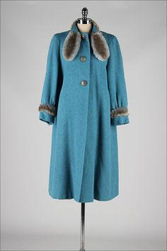vintage 1940s coat . turquoise wool . faux by millstreetvintage