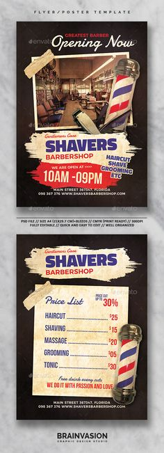 Barbershop Flyer/Poster Template Vol.01 — Photoshop PSD #minimalist #advertise • Download ➝ https://graphicriver.net/item/barbershop-flyerposter-template-vol01/19659753?ref=pxcr