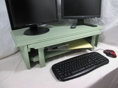 Double Monitor Stand With Adjustable Tray  by ThePaperSkiff