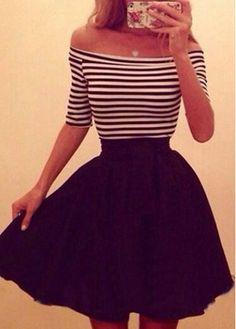 Stripe Pattern Short Sleeve Boat Neck Dress