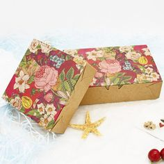 Wholesale 30pcs/lot Vintage Flower Kraft Paper Boxes Wedding Candy Packaging Boxes Biscuit Cookie Chocolate Macaron Gift Boxes