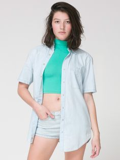 Unisex Denim Short Sleeve Button-Up by #AmericanApparel