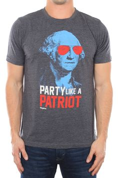 "Men's Party Like a Patriot Shirt | This shirt depicts George Washington rocking some awesome shades and has, ""Party Like a Patriot"" written on the front 