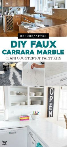 Painting Kitchen Countertops To Look Like Carrara Marble Painting Kitchen Countertops Giani Countertops Painting Countertops