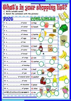 Nineteen sentences for naming containers.Key is included. Thank you!!! - ESL…