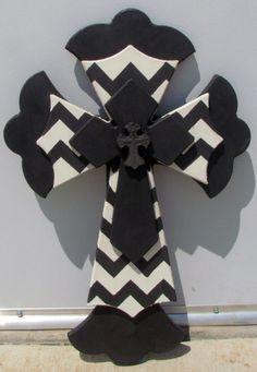 Black and white chevron Wall Cross