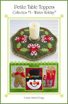 CD Petite Table Toppers Col Winter Holiday Machine Embroidery By Babich, Janine Sewing Machine Embroidery, Machine Applique, Embroidery Ideas, Hand Embroidery, Fabric Finders, Wool Applique Patterns, Quilted Table Toppers, Penny Rugs, Christmas Sewing