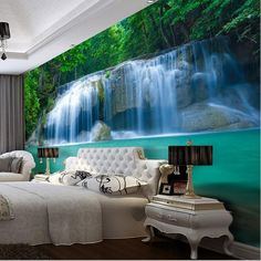 3d Waterfall Pool Design Wallpaper for Walls Wall Mural