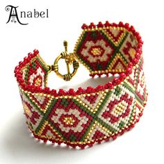 """Inspiration from Russian beadwork blog - Jewelry by Anabel  - this one is called:- Bracelet """"Gold Flower"""""""