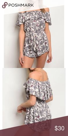 7513ac18cb71 Boho floral off shoulder romper Boho off shoulder romper. Pretty and sassy.  Fabric content  rayon Available sizes  2 small. 1 medium Pants