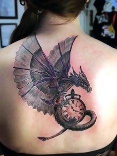 Steampunk Dragon Tattoo on Back Tattoo Idea Dragon Tattoo Back, Dragon Tattoo For Women, Dragon Tattoo Designs, Back Tattoo, Tattoo Time, Dragon Tattoos, Body Art Tattoos, Girl Tattoos, Tatoos