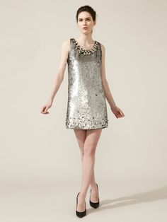 RED Valentino   Woven Pearl Embellished Sequin Dress