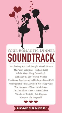 HoneyBaked Romantic Dinner Playlist #HoneyBaked #Dinner #ValentinesDay #Romance www.HoneyBaked.com