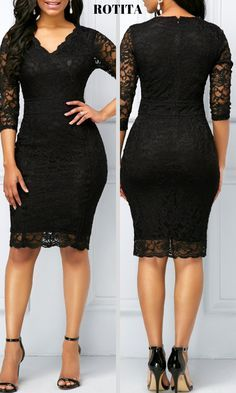 Three Quarter Sleeve V clothing Neck Lace Sheath Dress .Shop now for the perfect new dress!Huge selection with new styles added every day. Lace Dress Styles, African Lace Dresses, Latest African Fashion Dresses, African Dresses For Women, Lace Dress With Sleeves, Lace Sheath Dress, The Dress, Elegant Dresses For Women, Trendy Dresses