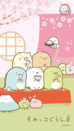 A corner Gurashi wallpaper sp Kawaii Doodles, Cute Doodles, Kawaii Art, Kawaii Anime, Wallpaper Kawaii, Sanrio Wallpaper, Cute Wallpaper Backgrounds, Iphone Backgrounds, Cute Animal Drawings Kawaii