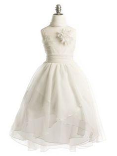 Ivory Chiffon Hi-Lo Wrap Flower Girl Dress in Girls Sizes 2-20 in 6 Colors                                                                  ...