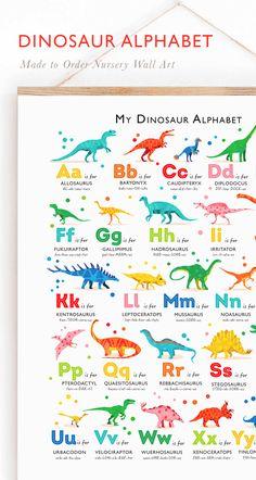 Dinosaur Kids Room, Dinosaur Room Decor, Dinosaur Alphabet, Dinosaur Nursery, Alphabet Nursery, Alphabet Print, Toddler Learning Activities, Kids Learning, Dinosaur Birthday Party