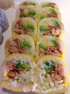 I love a fun a veggie roll!! Avocado, cucumber, tofu, and walnuts! Yum