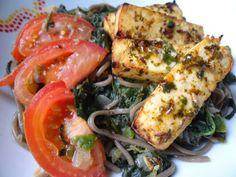 Tofu mariné au citron et herbes, nouilles soba aux épinards - Fleanette's Kitchen
