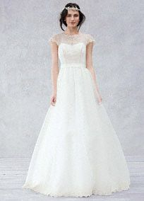 This beautifully crafted wedding gown will captivate everyone as you walk down the aisle on your special day!  Soft twisted A-line gown with cap sleeves features eyelet and scalloped details on the bodice and hem.